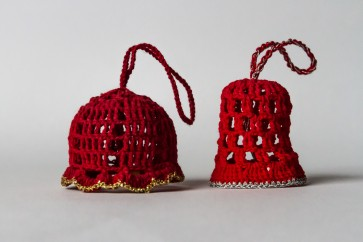 Božično-novoletni okraski, zvončki, rdeči