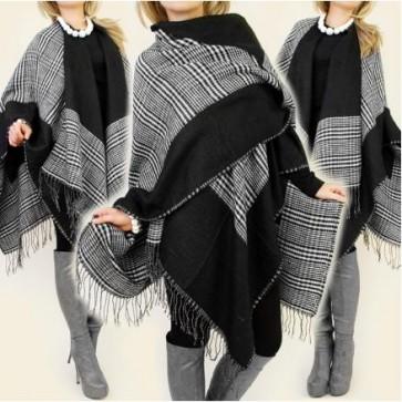 zimski pončo, pleten, topel