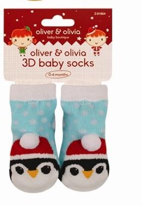 3D otroške nogavičke, pingvin