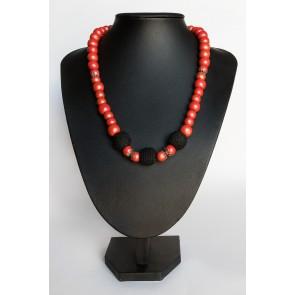 kvačkan modni dodatek, rdeče- črna ogrlica